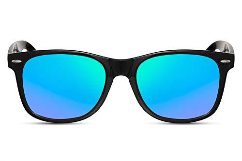 Cheapass Sonnenbrille Verspiegelt Schwarz-Glänzend Grün UV-400 Klassich Recht-Eckig Plastik Unisex