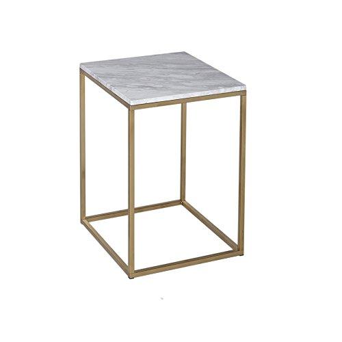Gillmore Space Marbre Blanc Table Basse carré d'Or métal Contemporain