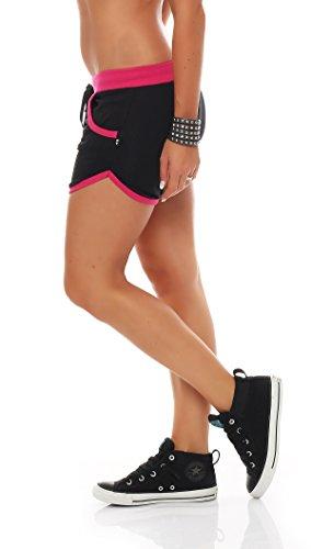 Gennadi Hoppe Damen Hotpants Fitness Shorts,schwarz/pink,M