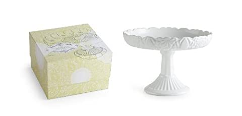 Rosanna Les Desserts Milk Glass, Round Rimmed Cake Pedestal by Rosanna