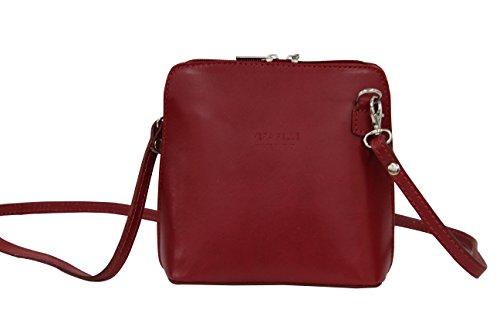 AMBRA Moda - Borsa di pelle a tracolla Donna, borsa piccolo Rosso scuro