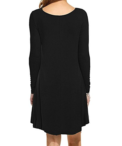 LILBETTER Frauen Rundhals Casual Loose T-Shirt Kleid 01 Schwarz langarm