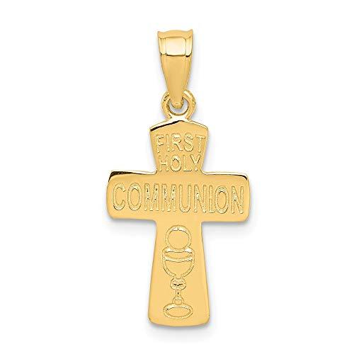 Kreuz-Anhänger zur Erstkommunion, 14 Karat Gelbgold, 19 mm lang