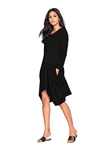 Robe A-ligne Longue Col Rond a Manches Longues avec Ourlet Asymetrique en Coton Automne Hiver Casual Vintage Femme Koobea Noir