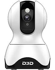 D3D 2MP (1920x1080P) Alexa WiFi Wireless IP Home Security Camera CCTV with Cloud Storage White (Model : F1-362C)