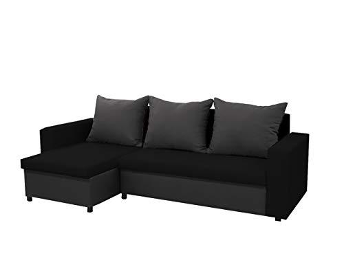 mb-moebel kleines Ecksofa Sofa Eckcouch Couch mit Schlaffunktion und Zwei Bettkasten Ottomane L-Form Schlafsofa Bettsofa Polstergarnitur LARS (Schwarz + Dunkelgrau, Ecksofa Links)