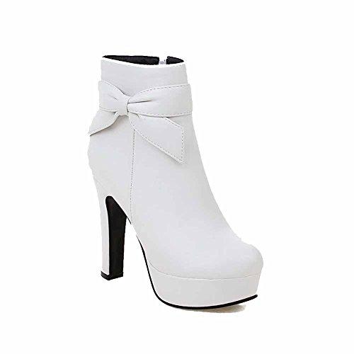 AgooLar Damen Niedrig-Spitze Reißverschluss Hoher Absatz Stiefel, Weiß, 38