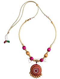 Pink And Gold Colour Silk Thread Necklace