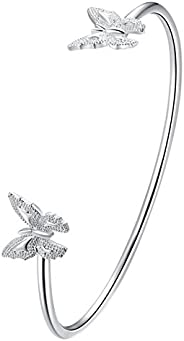Greendou Fashion Jewelry 925 Sterling Silver Plated Double Butterflies Open Cuff Bangle Bracelet for Women and