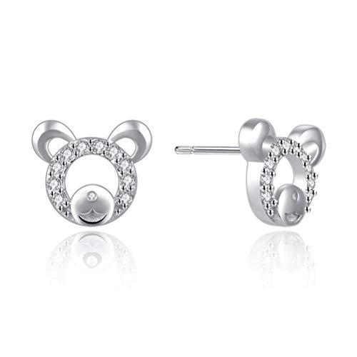 elegte Weiße Zirkon Ohrringe Weibliche Kleine Frische und Schöne Mode Silber, Mickey Mouse Stud, ()