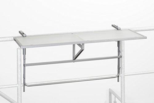 baumarkt direkt Balkonhängetisch, Stahl/Glas, klappbar 40 cm, 120 cm, silberfarben