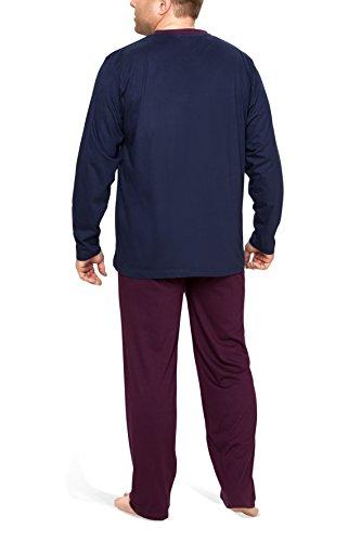 Moonline Plus - Schlafanzug Herren übergroß aus Baumwolle, langer Pyjama für Männer (zweiteilig, in großen Größen) Navy