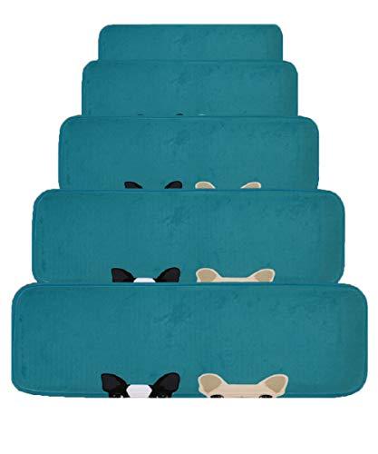JQQJ 15 Set Tappeti per Scale Scalini Antiscivolo Tappetini per Gradini Zerbino Cani con Battistrada(Blu, 70x22 Cm)