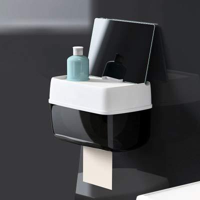 LJLJX Taschentuchspender, Wasserdicht/Staubdicht Papierrollenhalter Und Toilettenpapierhalter - Toilettenpapierrollenhalter Zur Wandmontage Für Badezimmer,Black