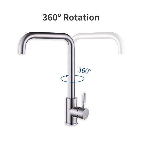 Homelody 360° drehbar Wasserhahn Küche Einhebelmischer Spültisch Armatur Küchenarmatur Spültischarmatur Spülbecken Wasserkran Mischbatterie Spüle für Küchen - 4
