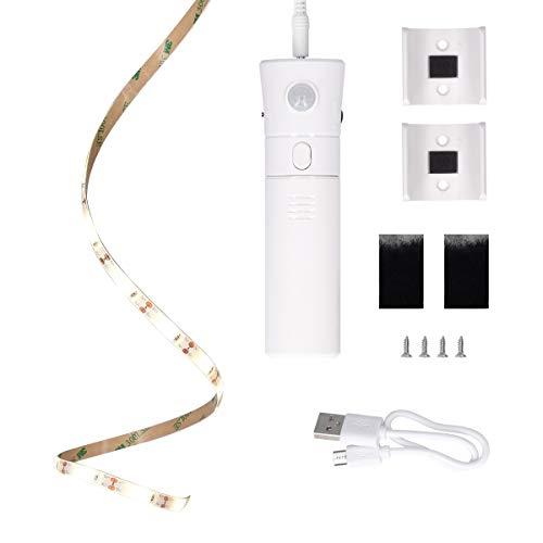 kwmobile Mobiles Nachtlicht mit Bewegungsmelder - inkl. 1m LED Streifen und Zubehör - Akku Orientierungslicht dimmbar für z. B. Bett Treppe Schrank