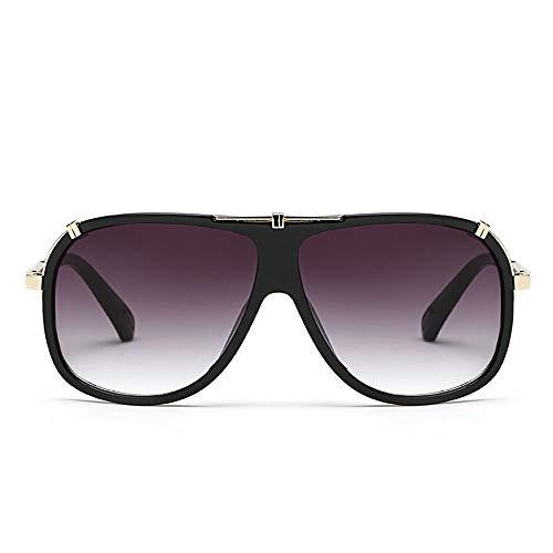 Easy Go Shopping Herren- / Damenmode-große Rahmen-Flieger-Sonnenbrille für Reisesport im Freien. Sonnenbrillen und Flacher Spiegel (Farbe : Schwarz)
