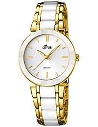 1dcf81abd3e5 Lotus Reloj de Cuarzo para Mujer con Color Blanco Esfera analógica Pantalla  y Pulsera de cerámica