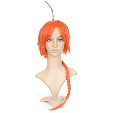 Bright Arancione Short Length Anime Cosplay Costume Parrucca with Long Braid