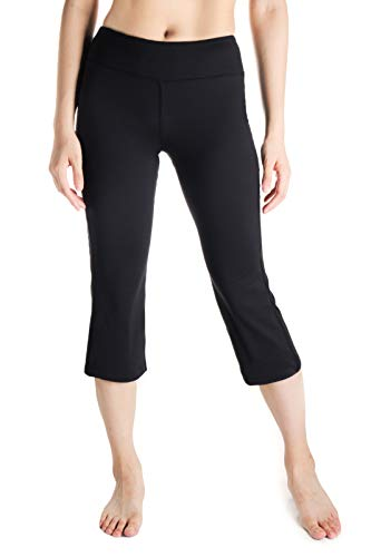 Activewear-crop Hose (Yogipace Damen Capri-Hose, 51 cm/56 cm/61 cm, leichte Flare-Capri-Hose, seitliche Taschen, schmale Passform, Yoga-Hose, Crop-Hose, Damen, schwarz, 20