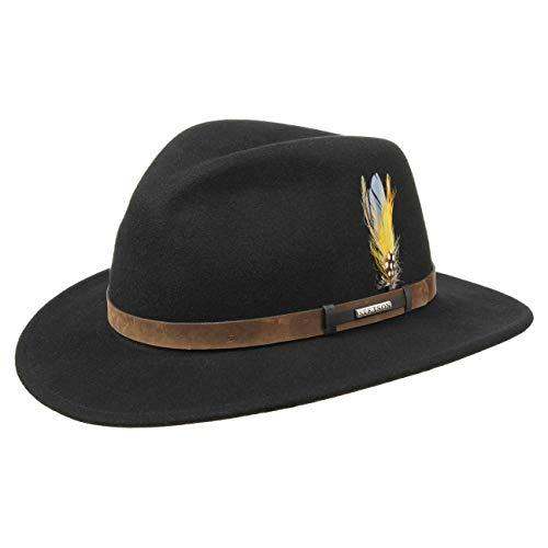 Stetson Sardis Westernhut Damen/Herren | Made in USA Hüte Klassiker Ledergarnitur mit Lederband Frühling-Sommer Herbst-Winter | M (56-57 cm) schwarz