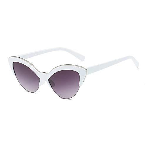 MJDABAOFA Sonnenbrillen,Cat Eye Sonnenbrille Weibliche Designer Cateye Gläser Für Frauen Weißer Rahmen Gradient Graue Linse Vintage Gradient Damen Brillen