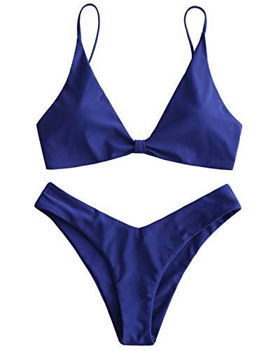 ZAFUL Bikini Set Triangel Bikinis mit Knoten Cami High Cut Einfarbiges Badeanzug Bikini-Set Swimsuit Beachwear Swimwear Bademode Dunkel BlauMedium