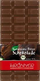 Krönner Bio Zartbitter Schokolade, handgeschöpft, ohne Lecithin und Aromen, 100 g Tafel, Kakao 70%