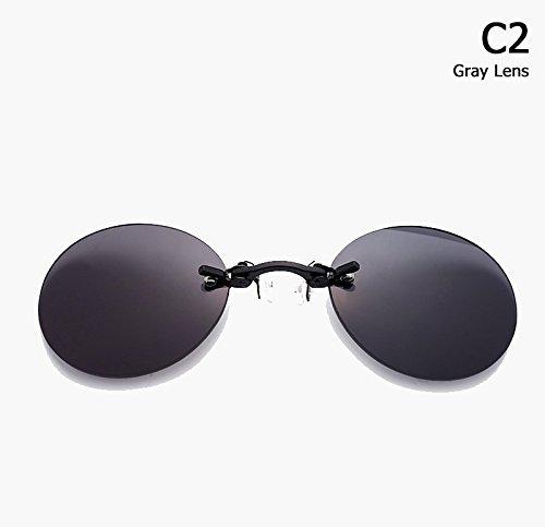 orpheus Stil Roumd Rimsless Sonnenbrille M?nner Brand Design Clamp Nose Sun Glasses ()