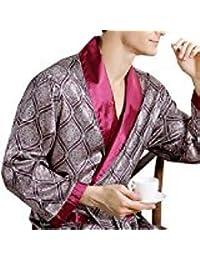 EDTara Men's Comfortable 100% Silk Satin Robe Bathrobe Luxury Sleepwear Loungewear Red Asia XL