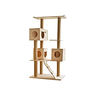 better cat tree, large cat climbing frame with 3 cat house and stairs floor activity center cat scratch board sl-022 (color : natural, size : 50cm*80cm*150cm) Better Cat Tree, Large Cat Climbing Frame with 3 Cat House and Stairs Floor Activity Center Cat Scratch Board SL-022 (color : Natural, Size : 50cm*80cm*150cm) 31qteCwBPVL