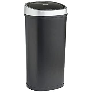 VonHaus Sensor Bin for Kitchen Waste | Automatic LED Motion Detection Lid | 50L Rubbish Capacity | Robust Metal Body with Black Steel Finish