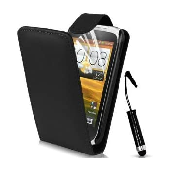 Supergets® HTC Desire C Top Flip PU Leather Case Cover, Screen Protector, High Capacitive Touch Screen Stylus And Polishing Cloth Black