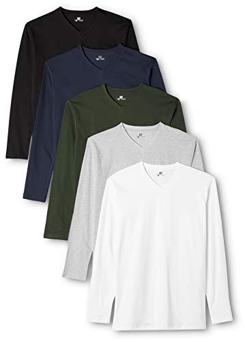 Langarm-polo-shirt (Lower East Herren Langarmshirt mit V-Ausschnitt, 5er Pack, Gr. X-Large, Mehrfarbig (Weiß/Schwarz/Grau/Blau/Grün))