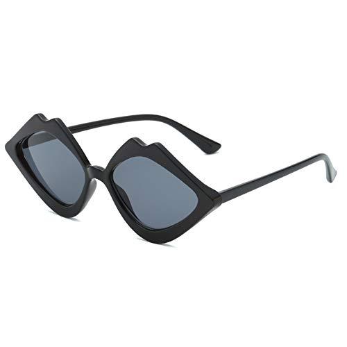 Taiyangcheng Gafas de sol en Forma de labios especiales para Mujeres Punk Punk Gafas de ojo de gato pequeño Lente de Color degradado,gris Negro Brillante