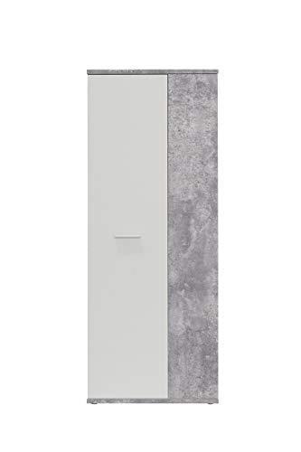 FORTE  Schuhschrank, Holz, beton + Weiß, 68.90 x 34.79 x 179.1 cm