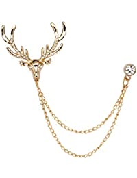 Knighthood Golden Swarovski Detailing Reindeer Head with Hanging Chain Metal Lapel Pin Brooch for Men