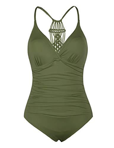 Hilor Damen Einteilige Badeanzug Falten Bademode Macramé Schwimmanzug Neckholder Monokinis Olive Me 46