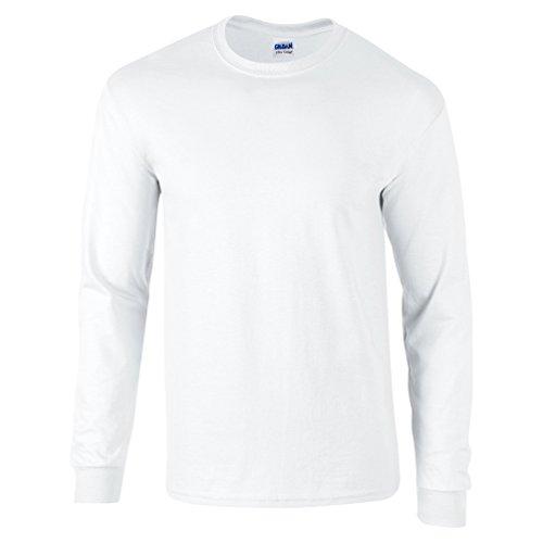 Gildan Ultra Oberteil, Langarm, Baumwolle Gr. XX-Large, weiß (T-shirt Ringer Damen Weiße)