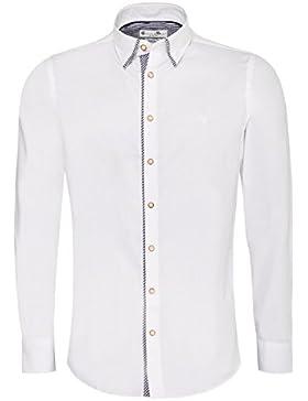 Trachtenhemd Body Fit Steffl zweifarbig in Weiß und Blau von Gweih & Silk