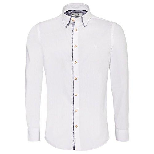 Gweih und Silk Trachtenhemd Body Fit Steffl Zweifarbig in Weiß und Blau, Größe:M, Farbe:Weiß