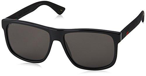 Gucci Herren GG0010S 001 Sonnenbrille, Schwarz (Black/Grey), 58