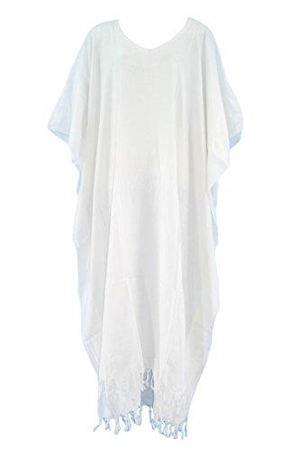 Beautybatik White Caftan Kaftan Loungewear Maxi Long Dress 24
