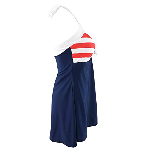 Arrowhunt Damen Mädchen Streifen Einteilige Neckholder Push Up Bikini Set Bademode mit integriertem Rock Rot