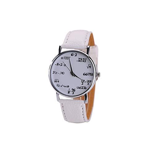 Estudiante del Reloj de Cuarzo analógico Dial Ecuaciones de la matemáticas de la Placa del Reloj con Cuero Brazalete del Reloj de Pulsera Blanca