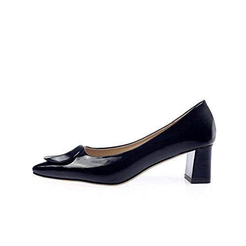 VogueZone009 Femme Pointu Tire Pu Cuir Couleur Unie à Talon Correct Chaussures Légeres Noir