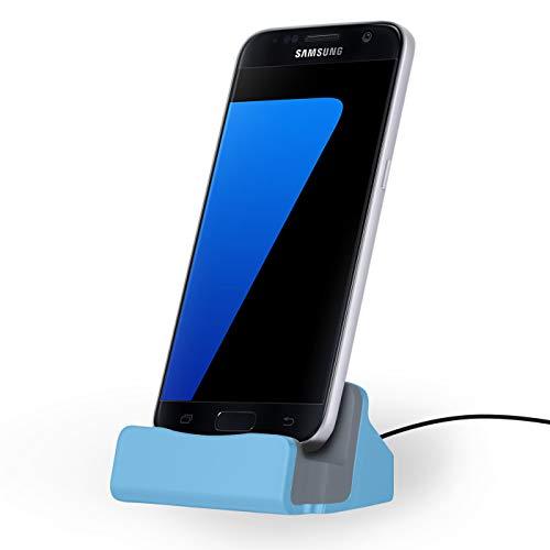 NessKa Dockingstation [ inkl. 2 Meter Kabel ] Desktop Tisch Ladestation Ladegerät Dock Ständer für Smartphones mit [Micro-USB] Anschluss Samsung Galaxy/Sony Xperia/Huawei/HTC/LG/Nokia | Blau
