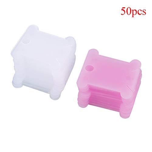 7thLake 50/100 STÜCKE Kunststoff Stickgarn Spulen Card Floss & Craft Fadenspulen Organizer Lagerung Inhaber Farbe Zufällig