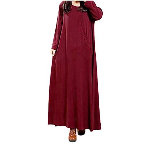 retail prices elegant shoes check out FeiXiang Robe Femmes Vintage Tunique à Manches Longues Baggy Robe Longue  Grande Taille Robe en Coton et Lin Couleur Unie Grande Taille pour Femme