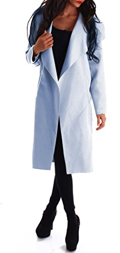 Damen Mantel Trenchcoat mit Gürtel lang (XL, hellblau)